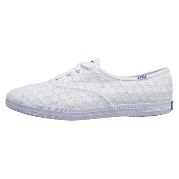 Keds Champion White Eyelet Canvas Flat Sneakers